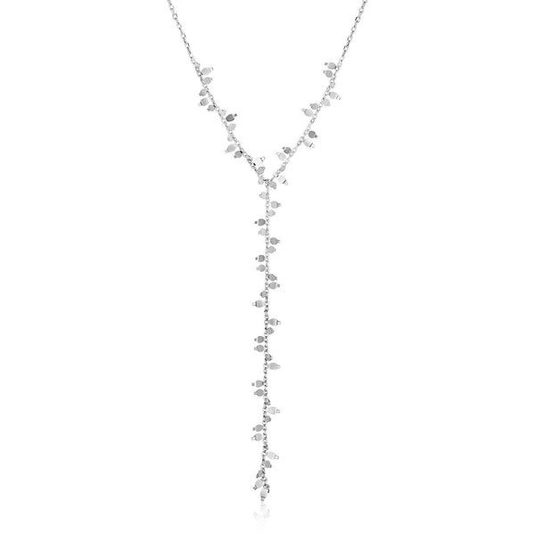 Sterling Silver 18 inch Leaf Motif Lariat Necklace