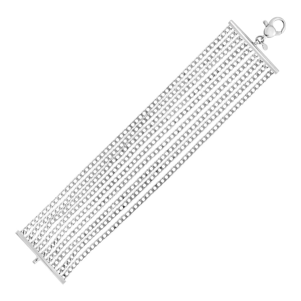 Sterling Silver 7 1/2 inch Nine Strand Polished Link Bracelet