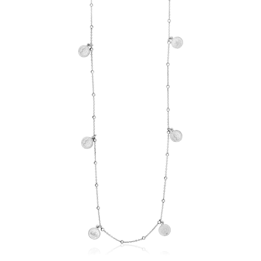 Sterling Silver 24 inch Necklace with Polished Beads and Roman Coins