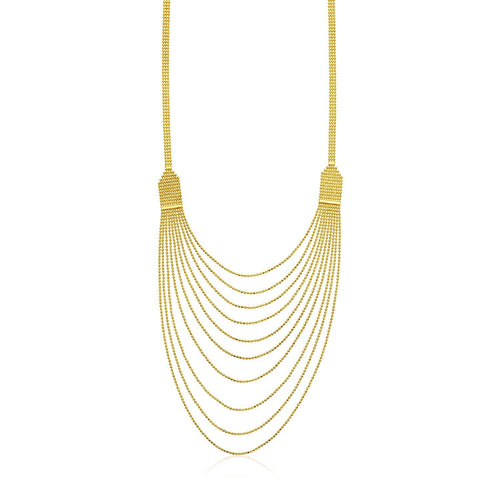 14k Yellow Gold Multi Strand Beaded Necklace