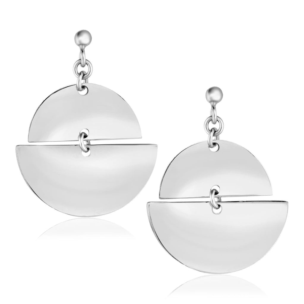 Sterling Silver Earrings with Two Polished Half Circles