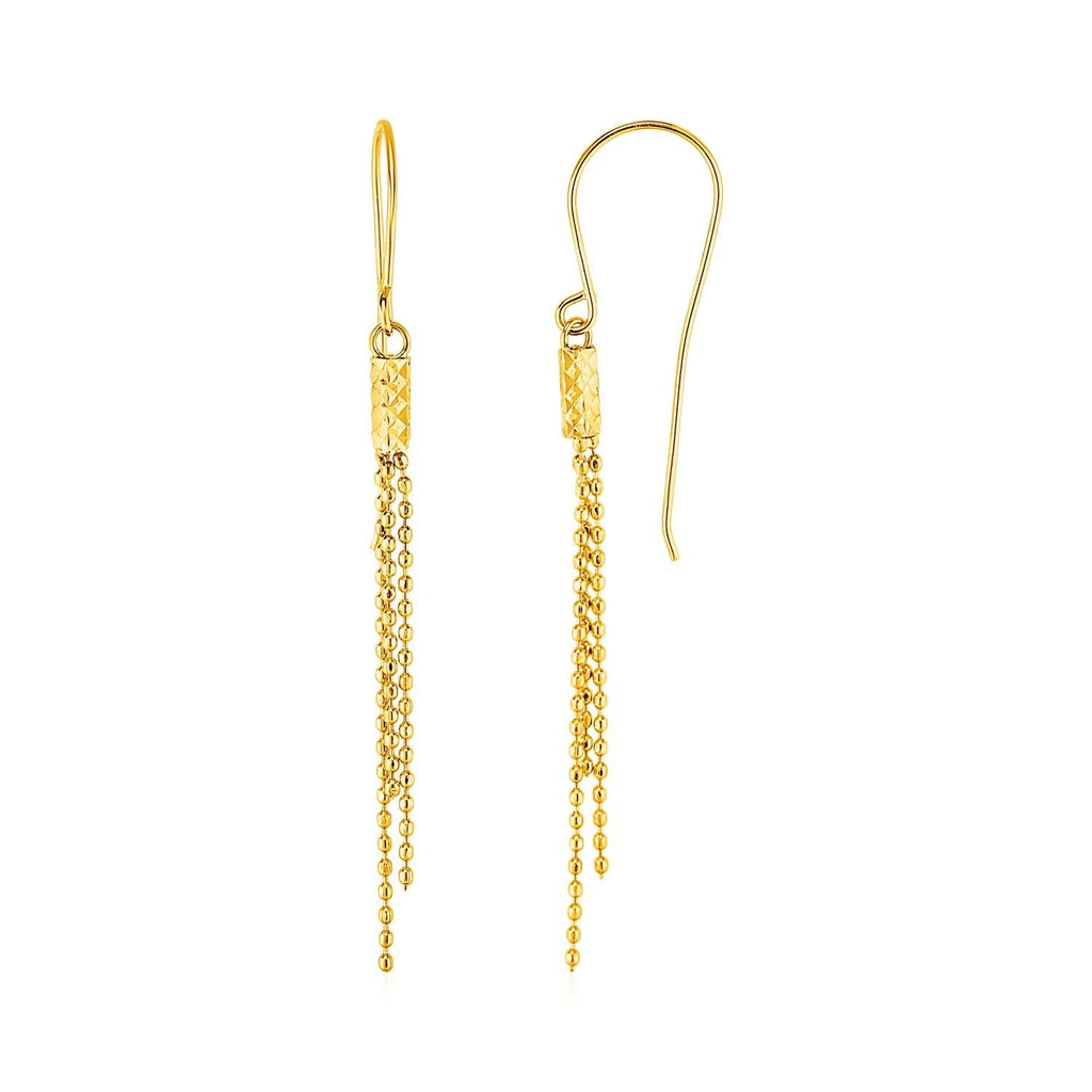 Earrings with Fine Chain Dangles in 10k Yellow Gold