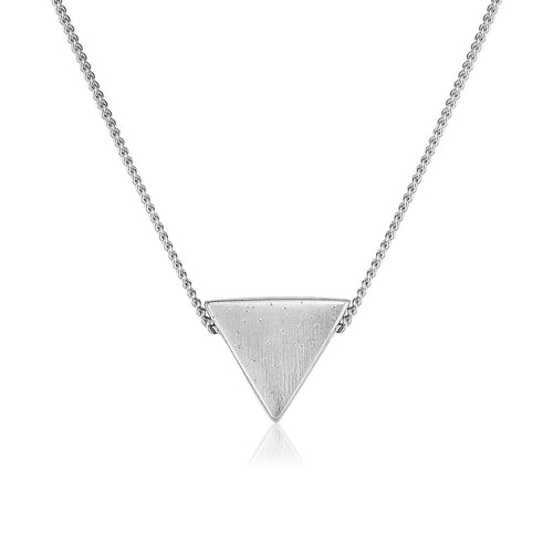 Sterling Silver 18 inch Triangle Necklace with Sparkle Texture