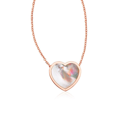 14k Rose Gold Heart Necklace with Mother of Pearl