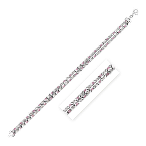 Sterling Silver 7 1/4 inch Bracelet with Pale Pink and White Cubic Zirconias