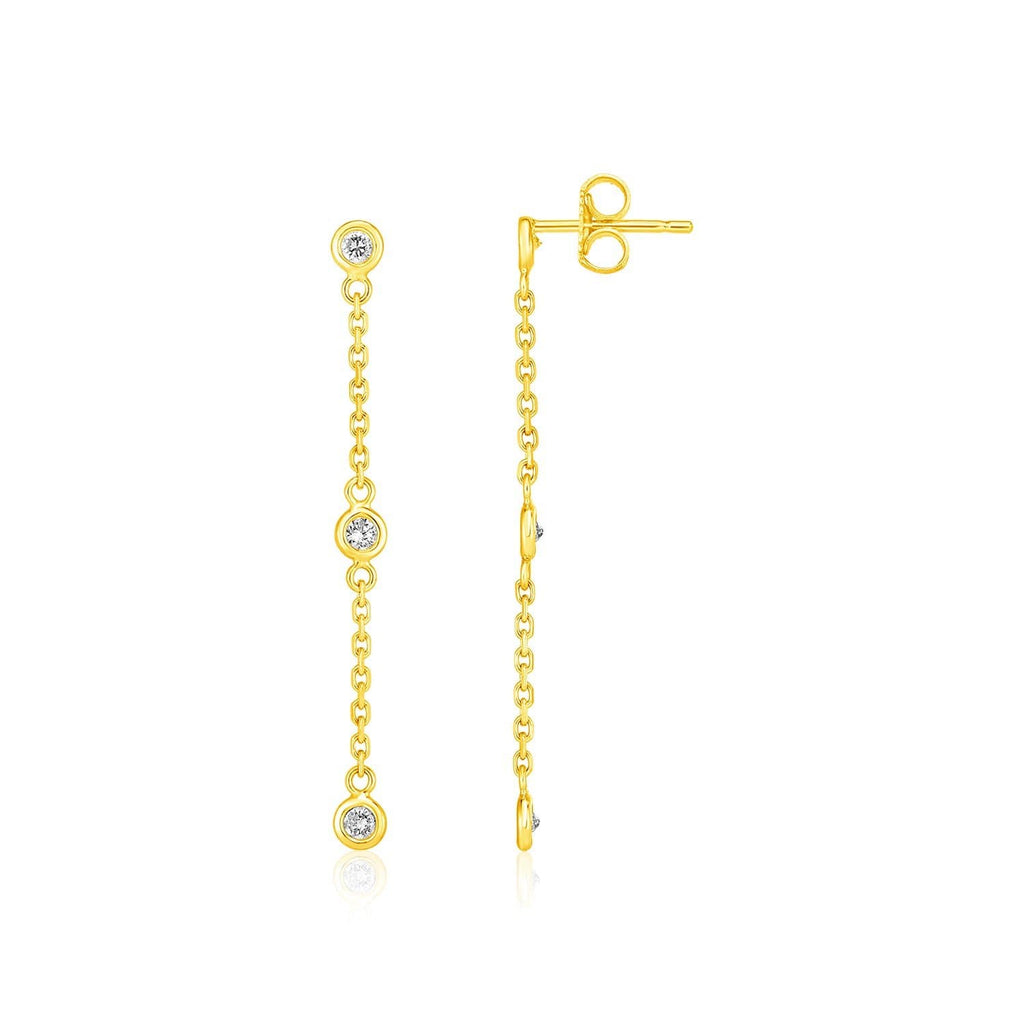 14k Yellow Gold Chain Dangle Earrings with Diamonds