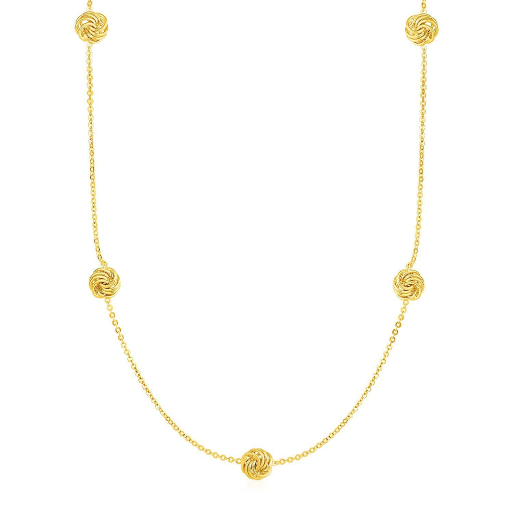 Station Necklace with Polished Love Knots in 14k Yellow Gold