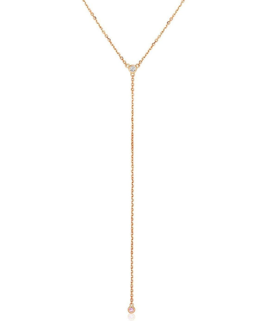14k Rose Gold 20 inch Lariat Necklace with Diamonds