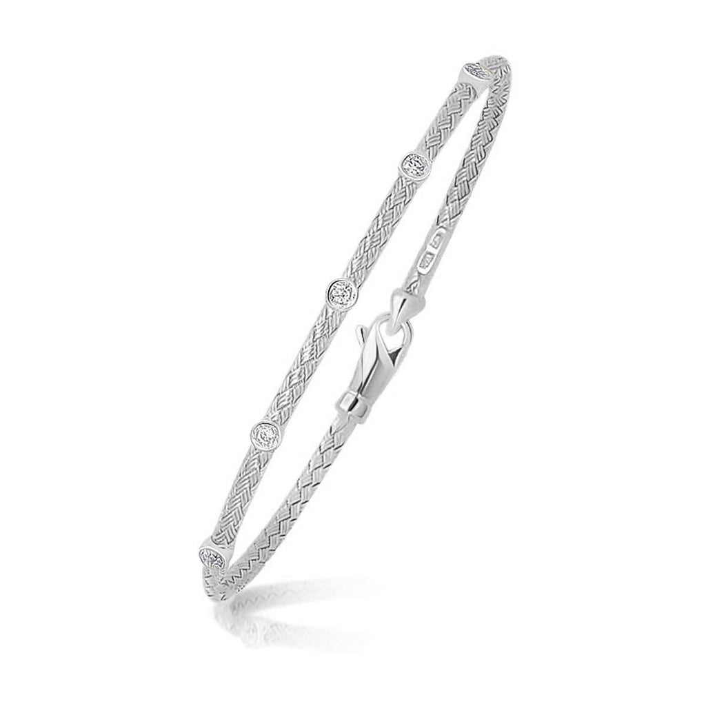 14k White Gold Diamond Accent Station Basket Weave Bracelet