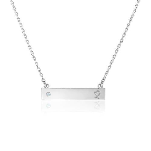 Sterling Silver 18 inch Bar Necklace with Diamond and Engraved Heart