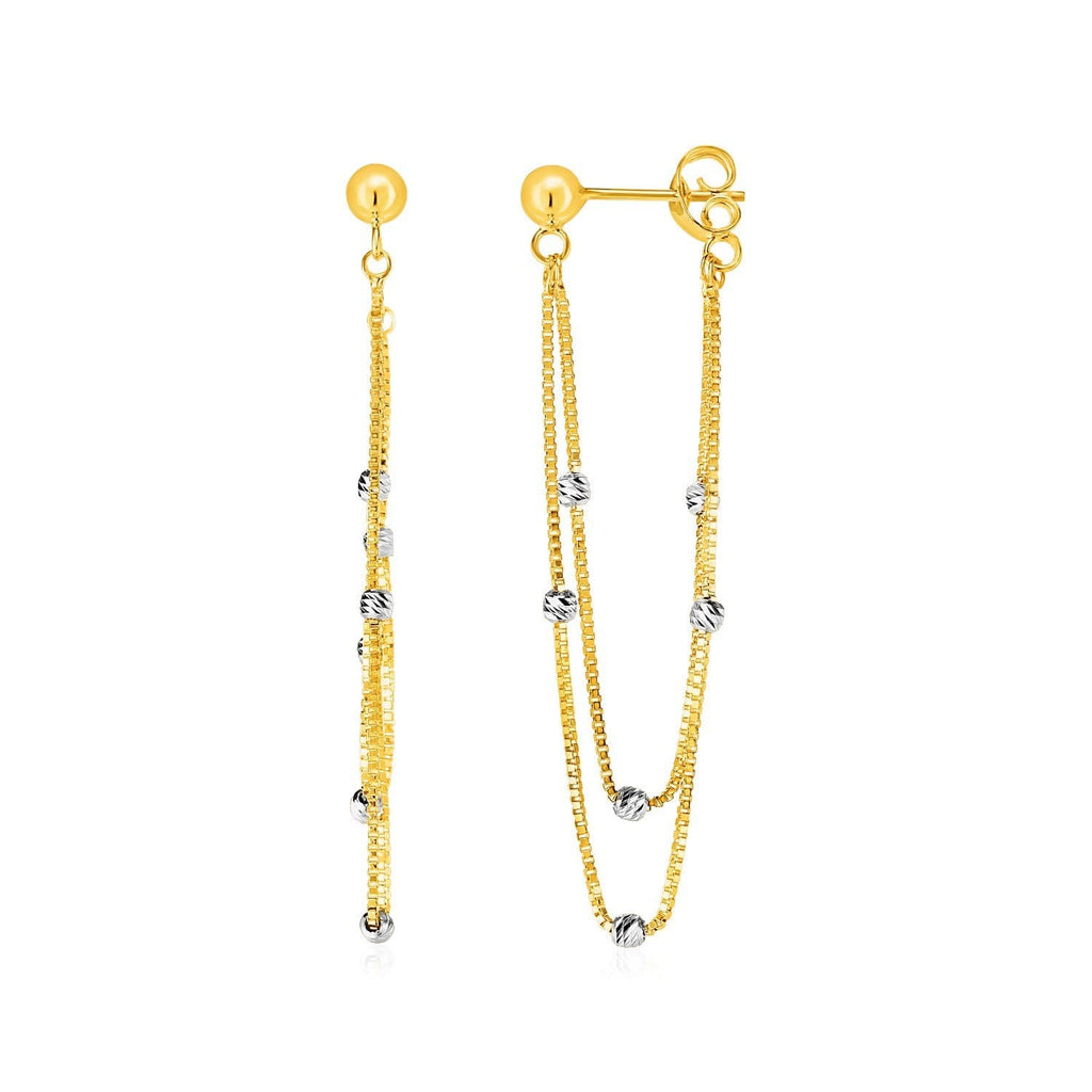 Hanging Chain Post Earrings with Bead Accents in 14k Yellow and White Gold