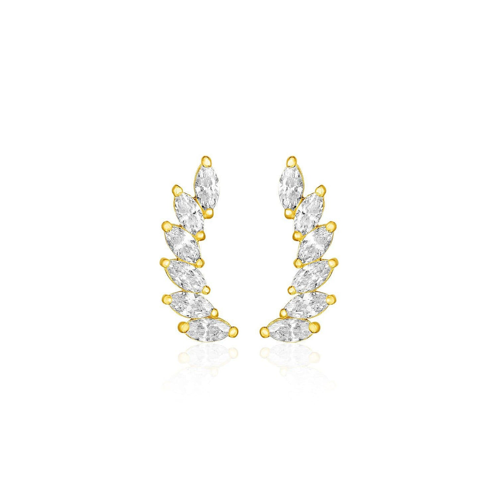 14k Yellow Gold Leaf Motif Climber Post Earrings with Marquise Cubic Zirconias