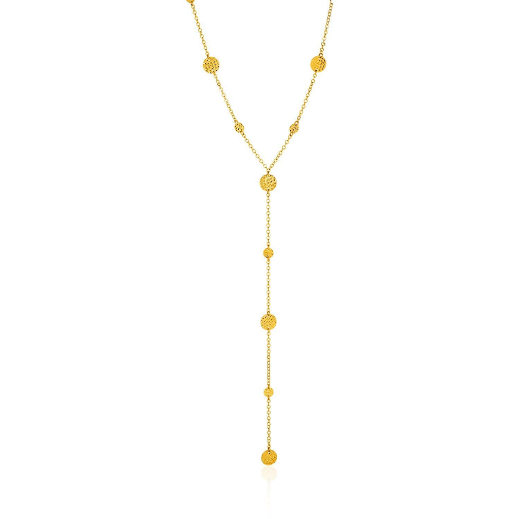 14k Yellow Gold Lariat Necklace with Textured Flat Circles