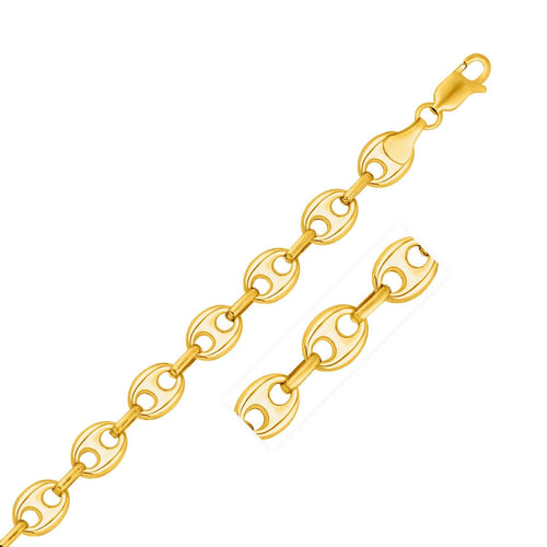 11.0mm 14k Yellow Gold Puffed Mariner Link Bracelet