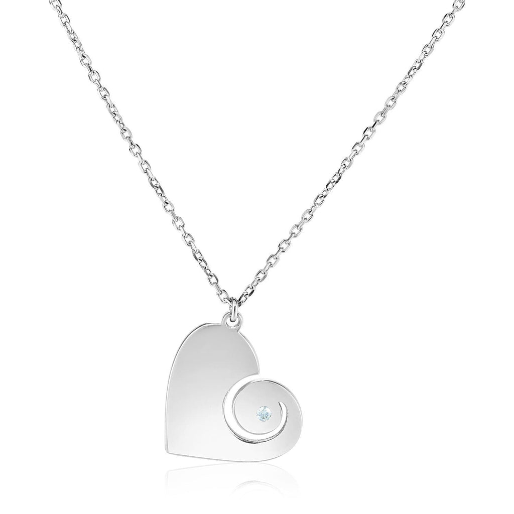 Sterling Silver 18 inch Necklace with Swirl Heart Pendant with Diamond