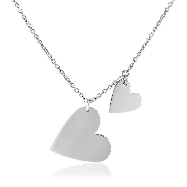 Sterling Silver 18 inch Necklace with Two Polished Hearts