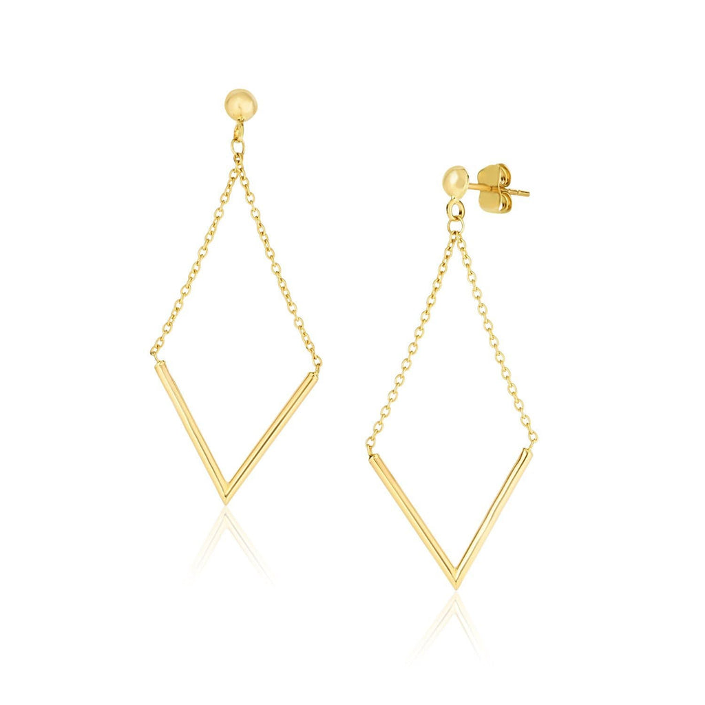 14k Yellow Gold Diamond Shape Chain Drop Earrings