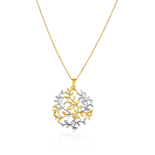 14K Two-Tone Yellow and White Gold Tree of Life Pendant