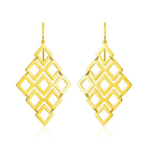 14k Yellow Gold Earrings with Polished Open Diamond Motifs