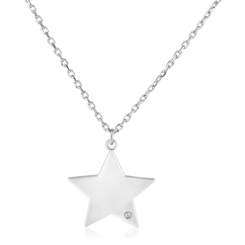 Sterling Silver 18 inch Necklace with Star Pendant with Diamond