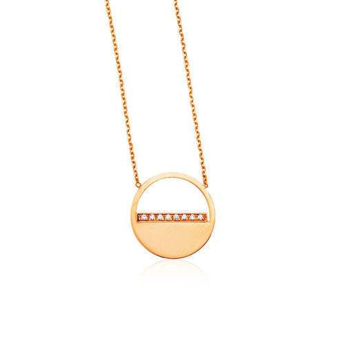 14k Rose Gold Circle Necklace with Diamonds
