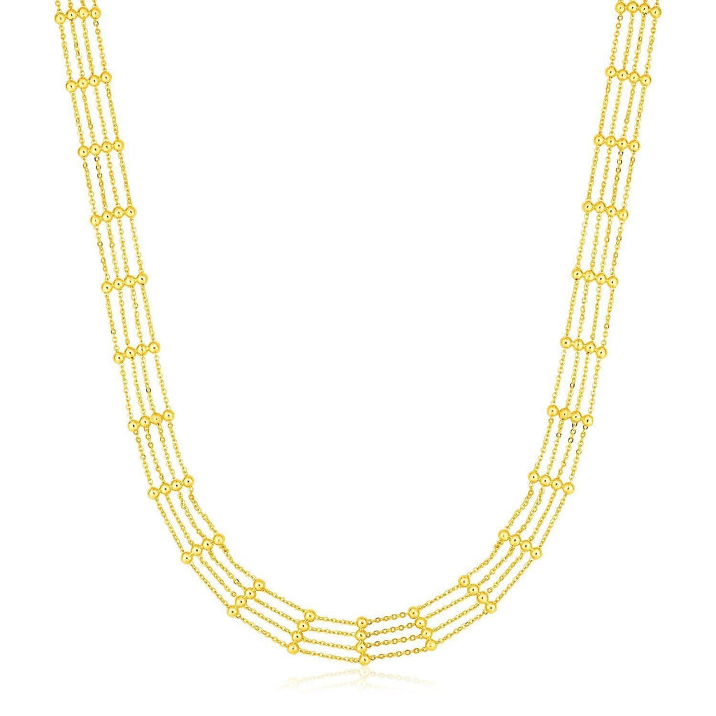 14k Yellow Gold Choker Necklace with Polished Beads