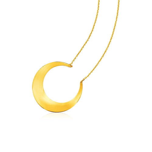 14k Yellow Gold 18 inch Necklace with Polished Moon Motif