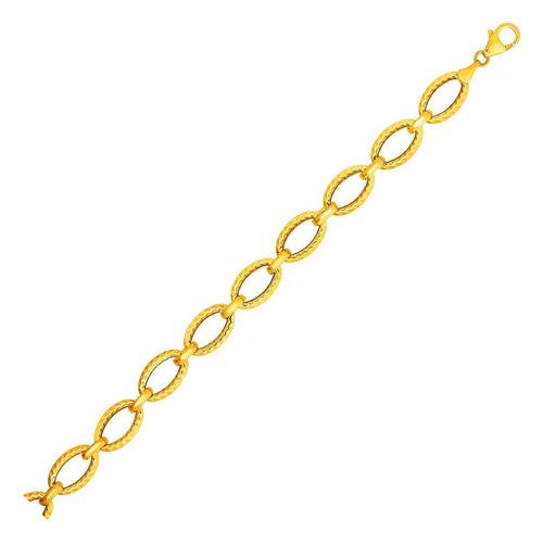 Textured Oval Link Bracelet in 14k Yellow Gold