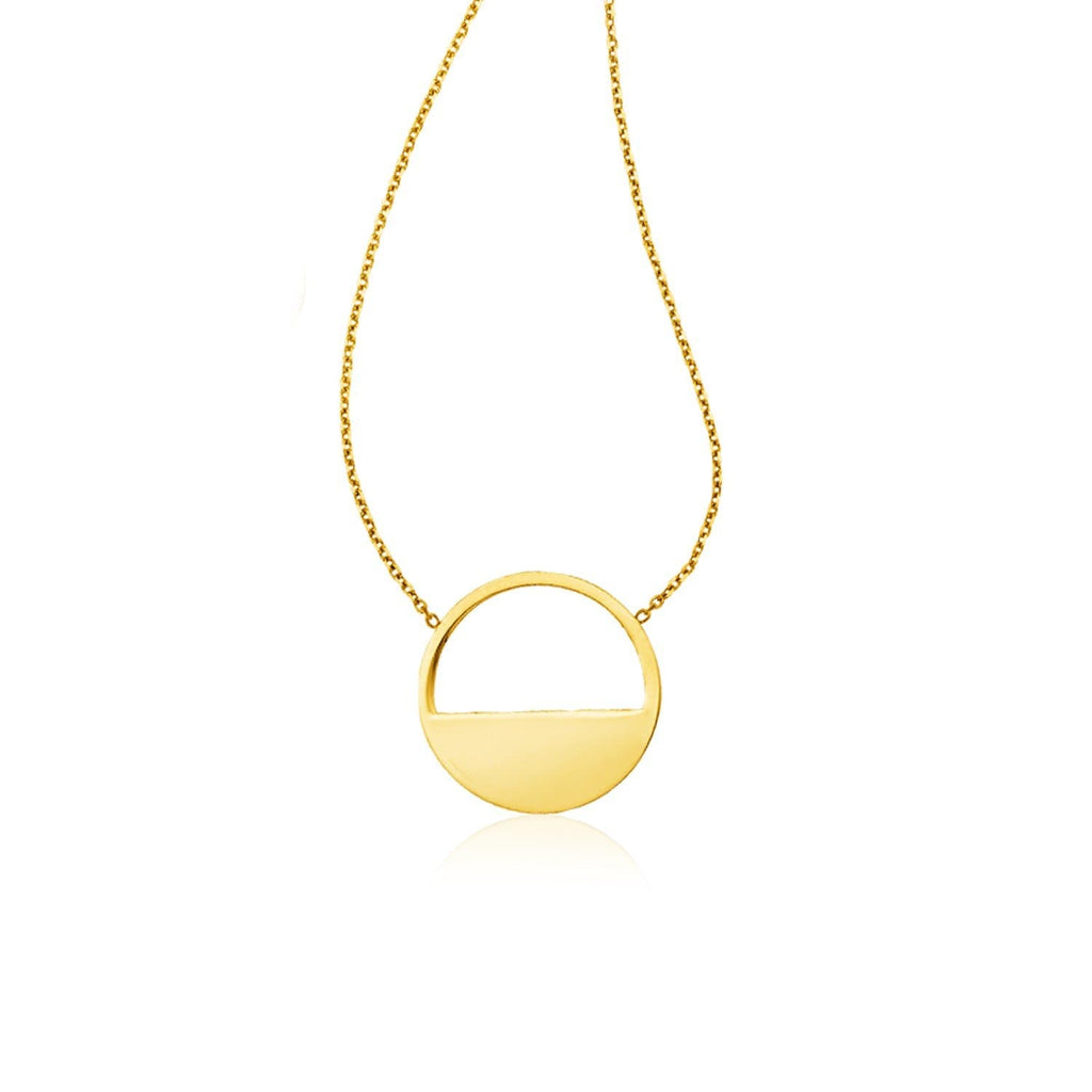 14k Yellow Gold Half Open Circle Necklace