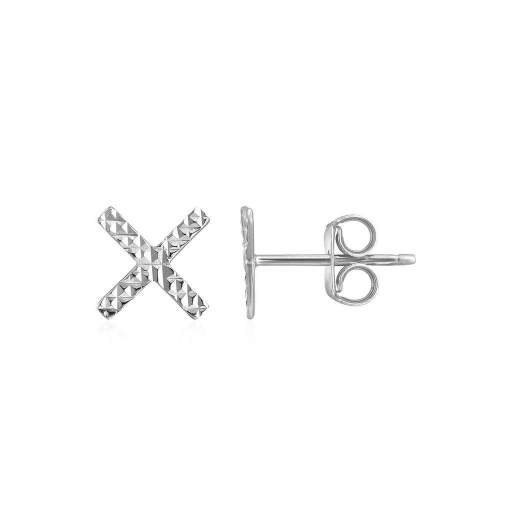 14k White Gold Textured X Post Earrings