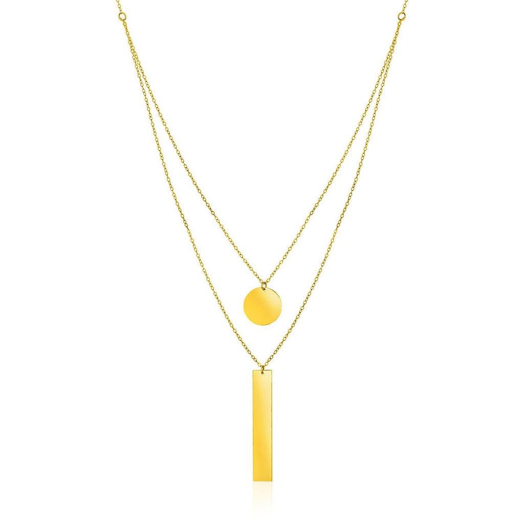 14k Yellow Gold 18 inch Two Strand Necklace with Circle and Bar Pendants