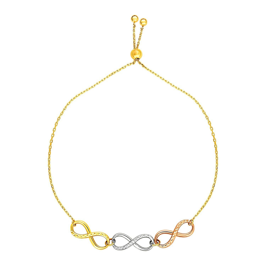 Adjustable Bracelet with Infinity Symbols in 14k Tri Color Gold