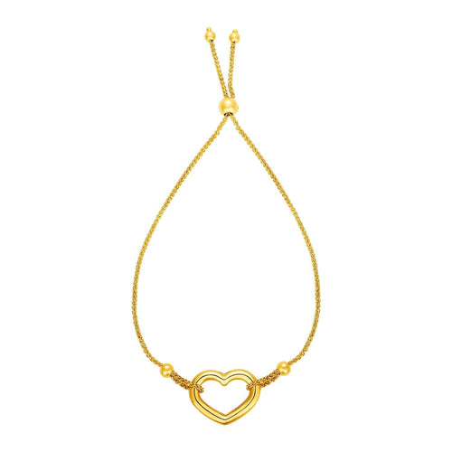 Adjustable Bracelet with Shiny Open Heart in 14k Yellow Gold
