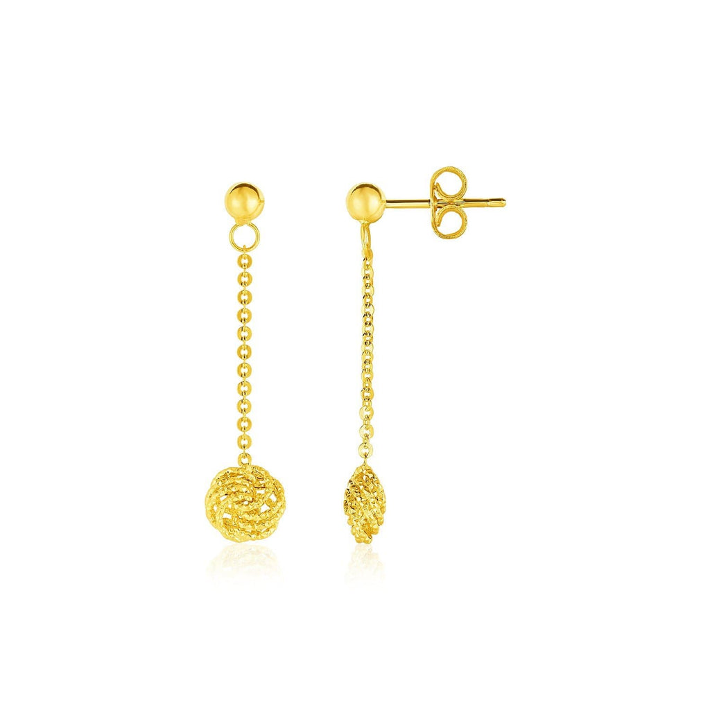 14k Yellow Gold Dangle Earrings with Textured Knots