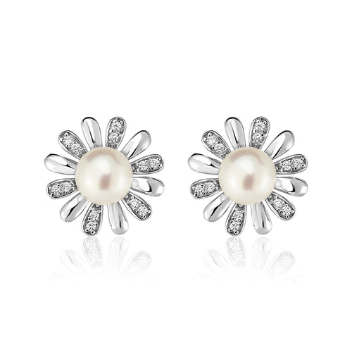 Sterling Silver Earrings with Sun Motifs and Freshwater Pearls