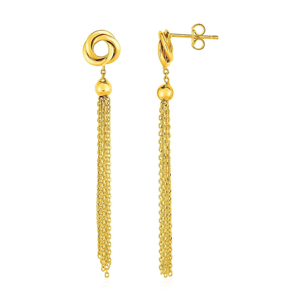 Earrings with Love Knots and Tassels in 14k Yellow Gold