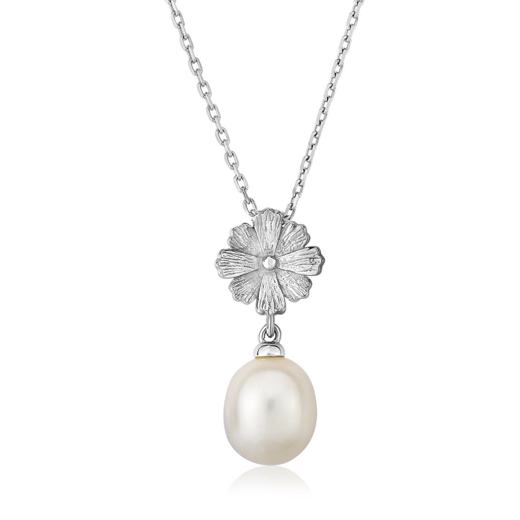 Sterling Silver Pendant with Flower and Freshwater Pearl Drop
