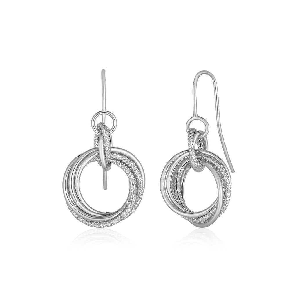 14k White Gold Earrings with Interlocking Circle Dangles
