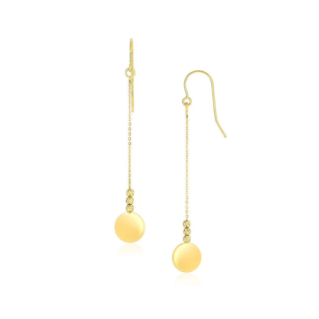 14k Yellow Gold Bead and Shiny Disc Drop Earrings