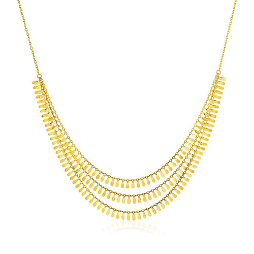 14k Yellow Gold 19 inch Three Strand Necklace with Polished Leaf Motifs
