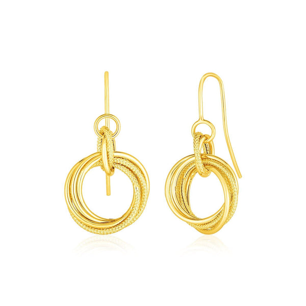 14k Yellow Gold Earrings with Interlocking Circle Dangles