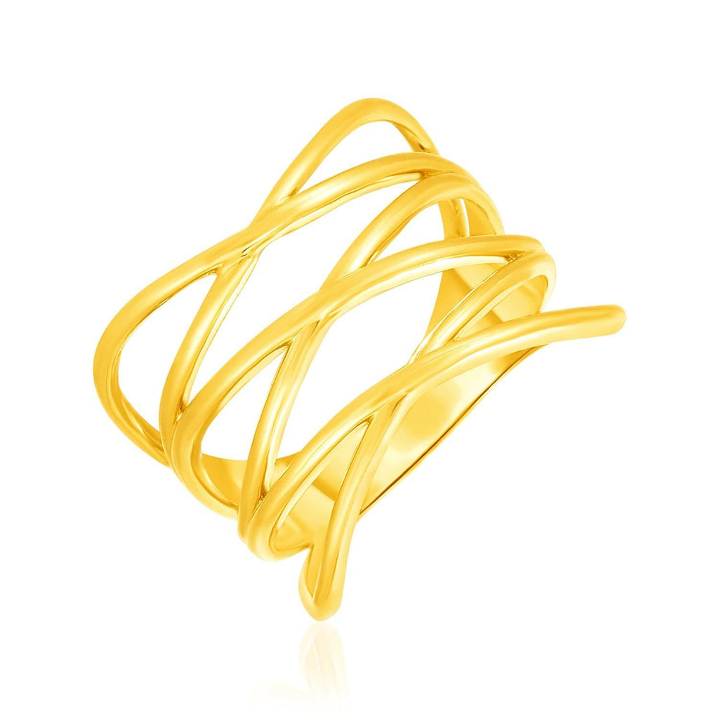 14k Yellow Gold Multi Part Crossover Style Ring