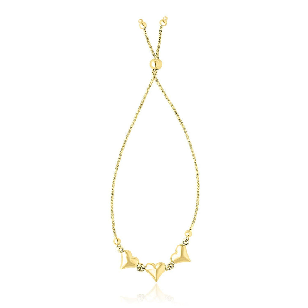 14k Yellow Gold Adjustable Puffed Heart Stations Lariat Style Bracelet