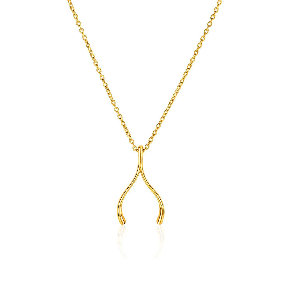 14k Yellow Gold with Wishbone Pendant