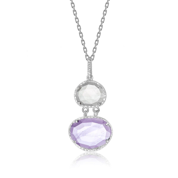 Sterling Silver Layer Pendant with Amethyst,  Rose Quartz,  and Diamonds