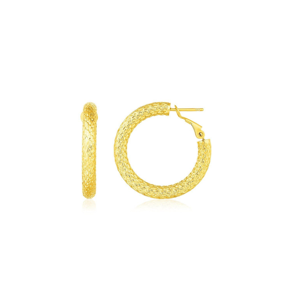 14k Yellow Gold Textured Round Hoop Earrings