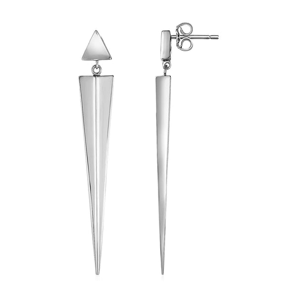 Long Twisted Vertical Bar Earrings in Sterling Silver