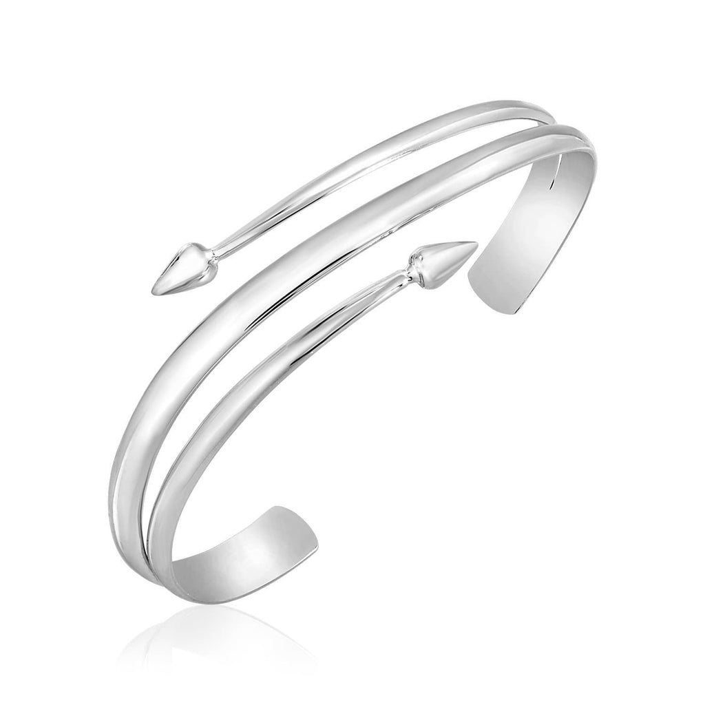 Sterling Silver Three Part Polished Arrow Motif Cuff Bangle