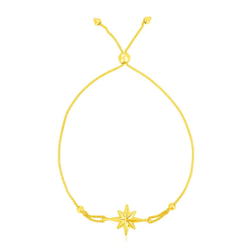 14k Yellow Gold Adjustable Bracelet with Star