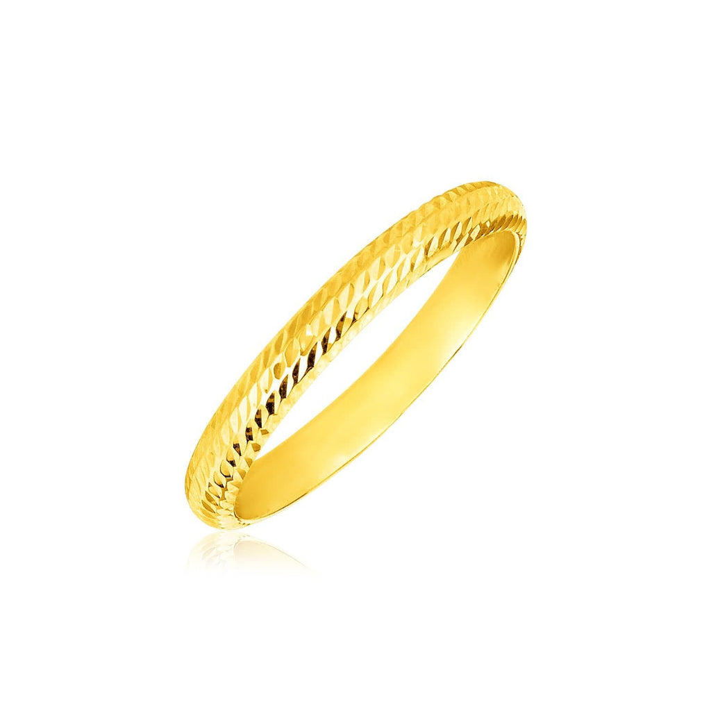 14k Yellow Gold Textured Comfort Fit Wedding Band